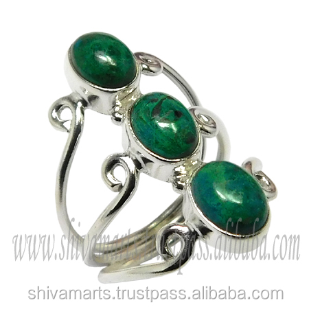 Store Of Love Dangler 925 sterling silver chrysocolla gemstone ring