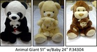 Animal Giant(51'') with baby(24'') plush toys, stuffed toys