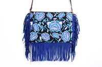 Gorgeous Cross Body With A Blue Magnolia Embroidered Pattern, Adorned With Blue Leather Tassel