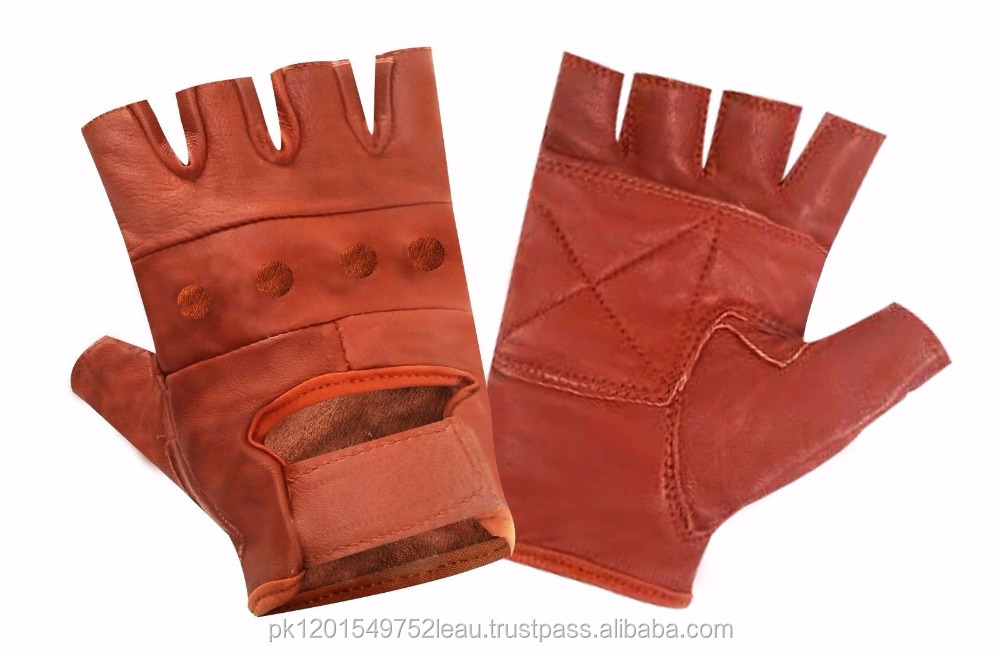 Mens High Quality Red Cow Leather Motorbike And Workout gloves