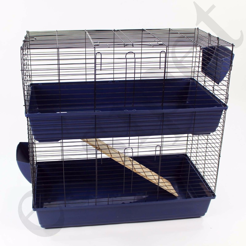 Blue Or Pink Large 100cm Two Storey Tier Layer Level Indoor Rabbit Cage