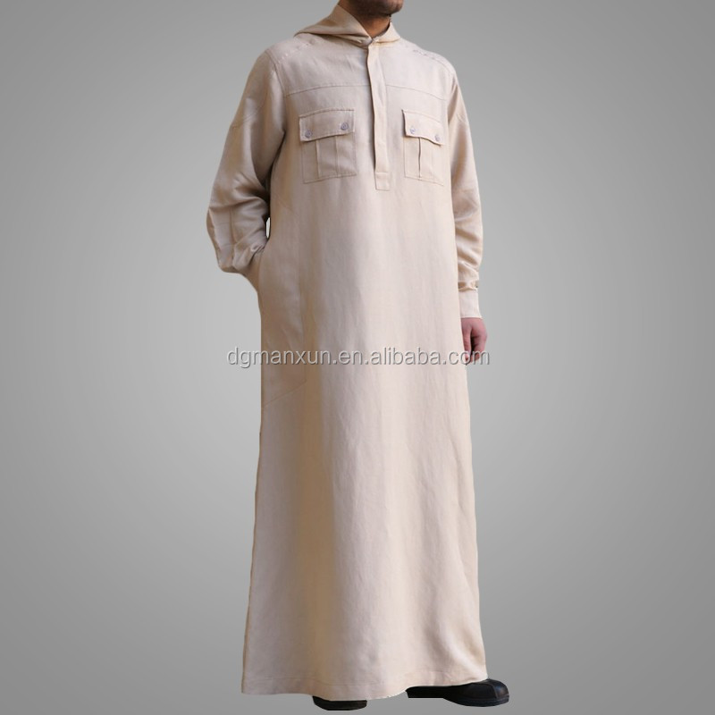 Latest hooded kuwait style men thobe arabic men daffah thobe