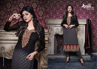 Dark Black colour Embroidered work Straight long suit