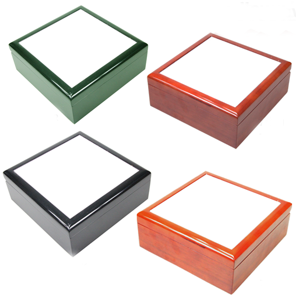 """Square Wooden Jewellery Box With Blank 4x4"""" Sublimation Ceramic Tile ..."""