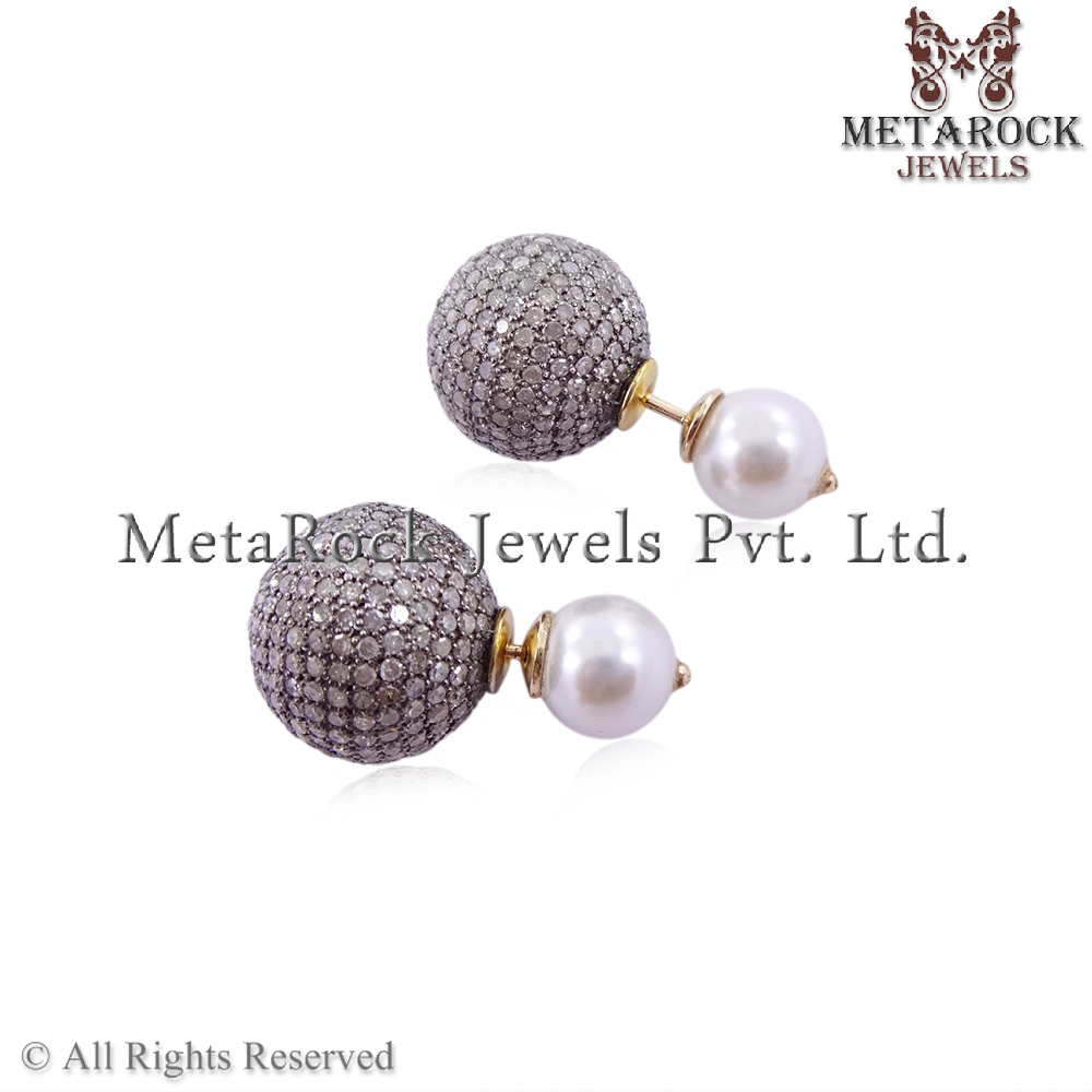Pave Diamond Fresh Water Peral Gemstone Fashion Earring