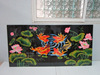 Lacquer wall art painting 4 in 1, lotus and yellow fish in lake, Vietnam handicraft,