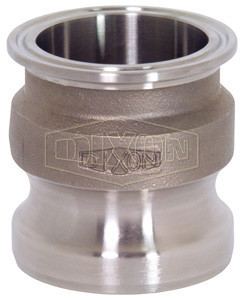 "Dixon RE150SE 316 Stainless Steel Sanitary Transition Fitting - 1-1/2"" Cam and Groove Adapter x Clamp End"