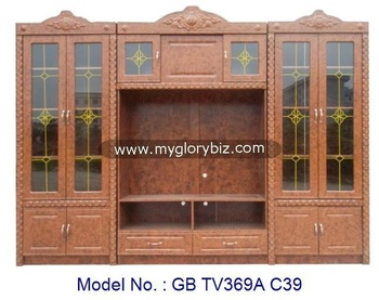 Wooden TV Cabinet With Glass Special Design For Living Room, wooden tv cabinet designs with showcase, living room big furniture