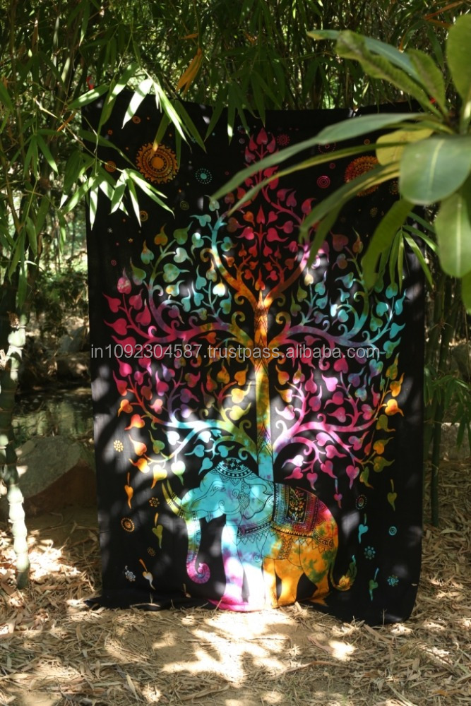 Multi Good Luck Wealth Elephant Under Tree Tapestry Wall Hanging Hippy Bohemian Tapestries tightly loomed fabric Home decor.