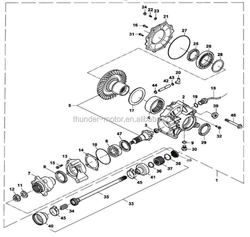 UTV Rear Axle Assembly Used On 60315342679 furthermore  on hisun rear differential