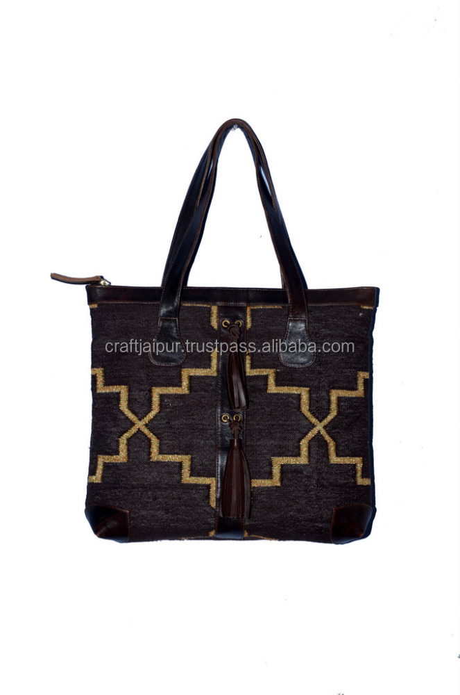 Handmade cotton rug bag indian traditional leather finches rug bags wholesale