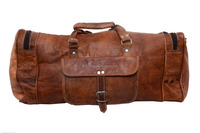 22 inches long genuine leather travel luggage,picnic overnight bags