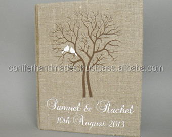 linen fabric covered wedding photos albums with silk screen print for wedding stationers, wedding photographers, weddings