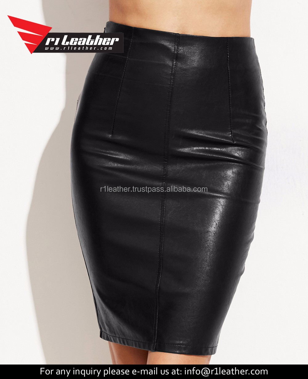 latest design Pencil skirt for ladies women's black pu leather skirt