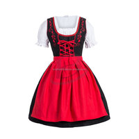 Dirndl Dress Red, Ethnic 3 PC Oktoberfest Bavarian Trachten German Austrian Folk (Traditional Clothing
