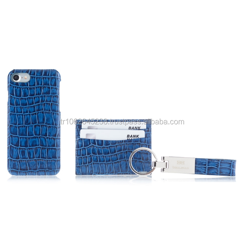 New Premium Designer Trinity Croco Leather Set for iPhone 7 - Phone Case, Card Holder, Keychain