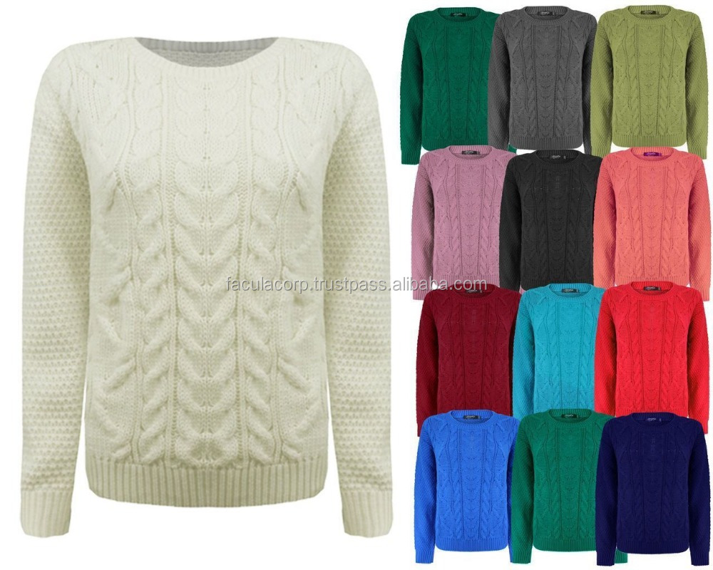 Ladies Women Knitted Long Sleeve Cable Knit Jumper Baggy Chunky Knit Sweater Top FC-14922