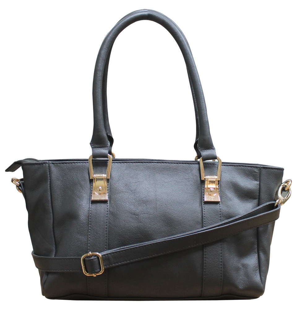 Gray Leather Baguette Bag