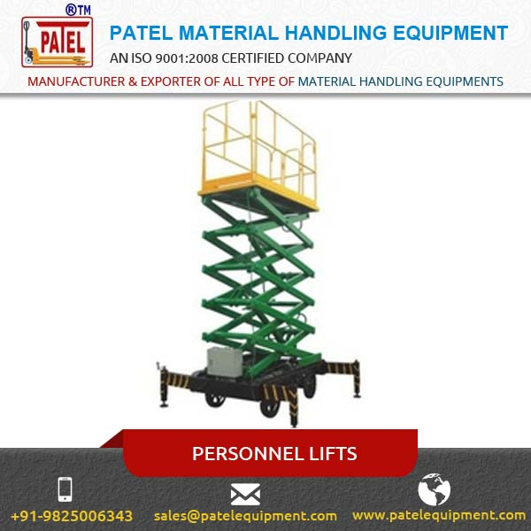 Easy Propelled Scissor Type Personnel Lifts by Certified Manufacturer