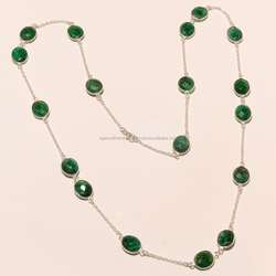 coolest new session silver jewelry !! beautiful emerald 925 sterling silver handmade necklace jewelry