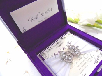 Hot Sale Purple Silk Wedding Invitation Box With White Ribbon And Brooch