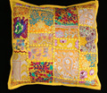 "Indian Yellow TOSS PILLOW CUSHION COVER EMBROIDERED Gift India COLORFUL Decor THROW Art 16"" vintage"