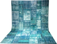 Turquoise turkish hand made patchwork rug