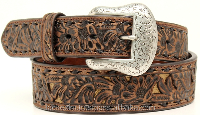 Teenagers Retro Carved Decorative Pattern Leather Belt