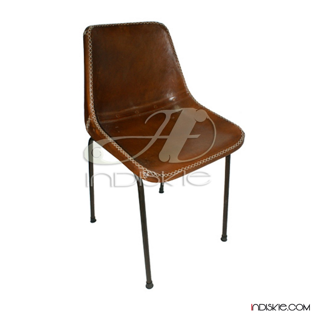 Vintage Leather Dining Chairs vintage stitched leather dining chair retro leather school chair
