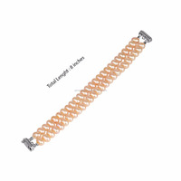 2 Line Pink Oval Beads Fresh Water Pearl bracelet
