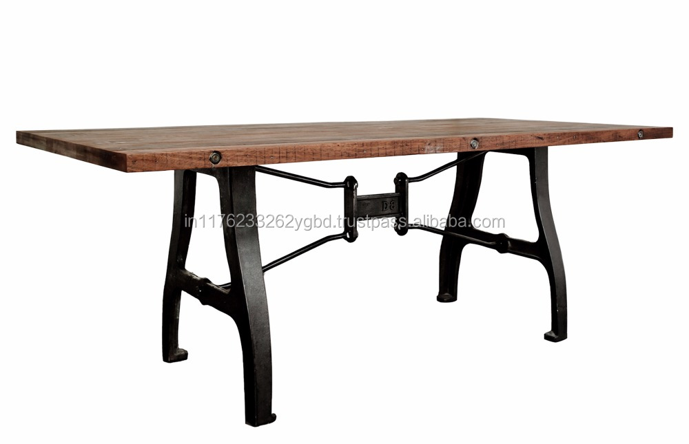 rustic antique wood bast iron base dining table