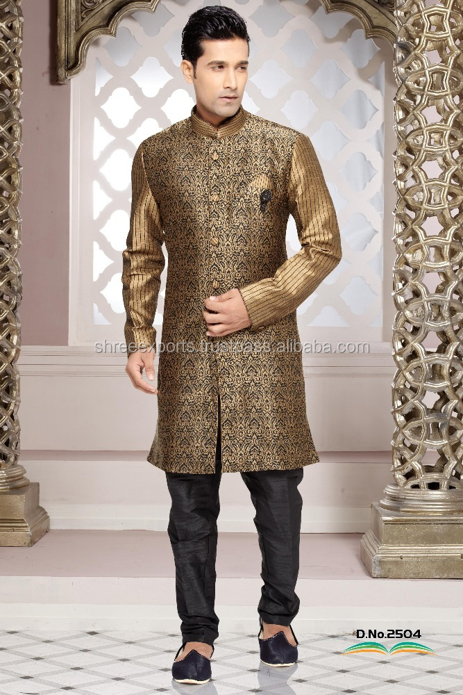 Sunshine Black Brocade Art Silk Indo Western/ Wholesale Mens Wear/ Indian Kurtas