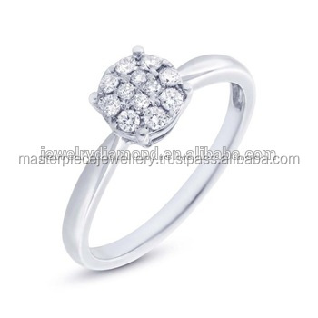 American Genuine Diamond Promise Wedding Rings in White Gold or Platinum