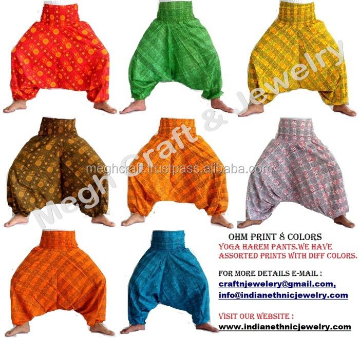 SAROUEL NEPALAIS RED hand embroidered green hippie babacool meditation boho chic dress short JLN3 harem pants Indian sarouel