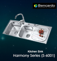 Kitchen Sink- new style high quality handmade kitchen use double bowls stainless steel kitchen sink - Bencardo- S-6001