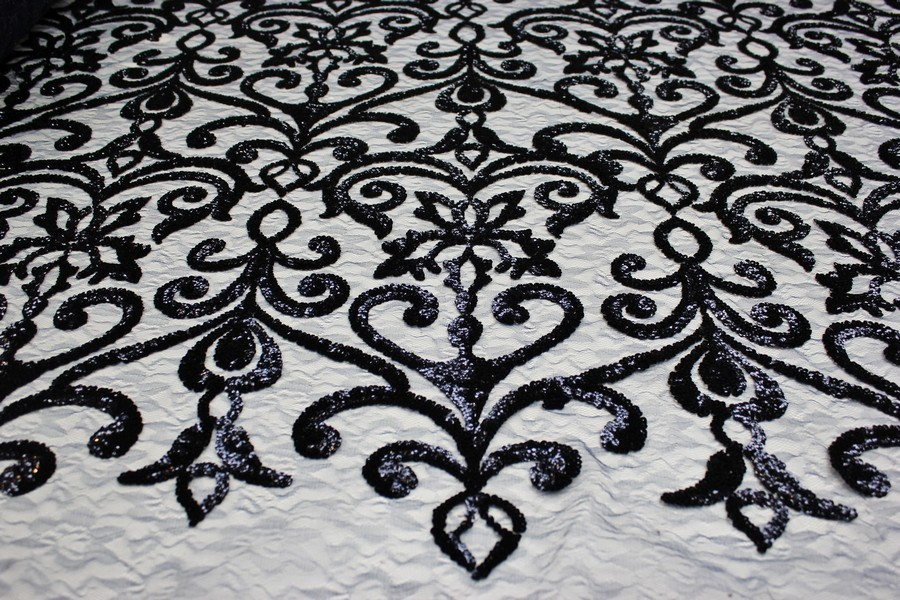 Elegant Designer Lace Sequin Fabric with Star Design on Jacquard Mesh