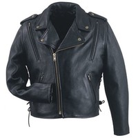 Mens leather biker style vented motorcycle jacket