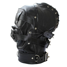 Open Mouth Gag Leather Full Gimp Hood Mask Padded Locking eyes Blindfold Bondage