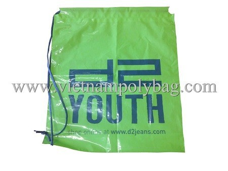 Cotton handle drawstring bag plastic packaging bag