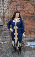 TRIBAL CAFTAN Royal Blue Wool Caftan with Metallic Golden Yellow Embroidered Trim