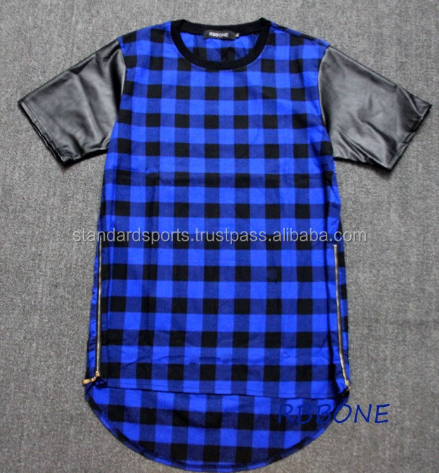 2017 Fashion extra long shirts blue for men clothes plaid t-shirt mens hip hop clothing extended leather sleeves zipper t-shirt