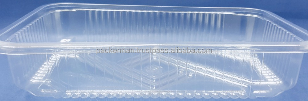 Multipurpose Plastic Rigid Disposable PET Food Tray, Clear and Solid PET Container