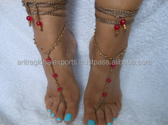 Crochet Barefoot Sandals Beach Wedding Yoga Shoes Foot Jewelry Pink Gold