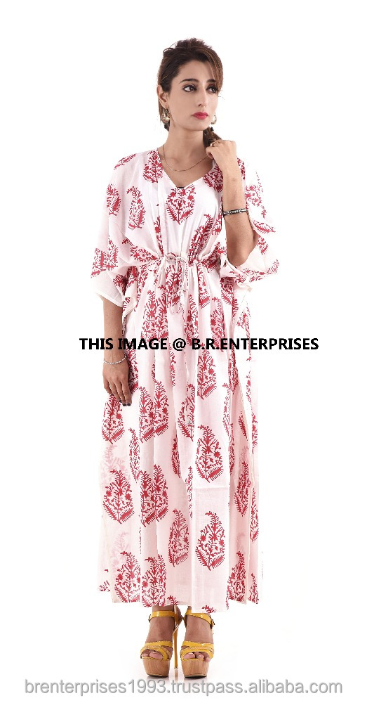 100% cotton wholesale new arrival indian handmade hand block printed kaftan dress
