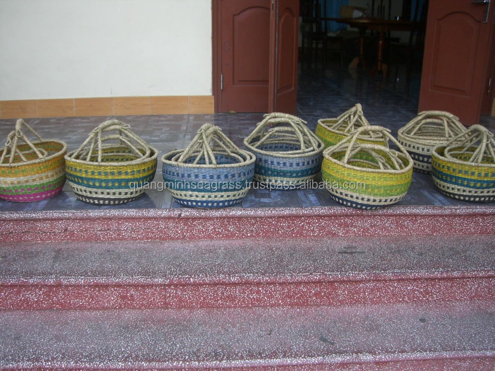 Natural seagrass bolga basket high quality straw shopping bag good price wicker picnic food basket made in Vietnam