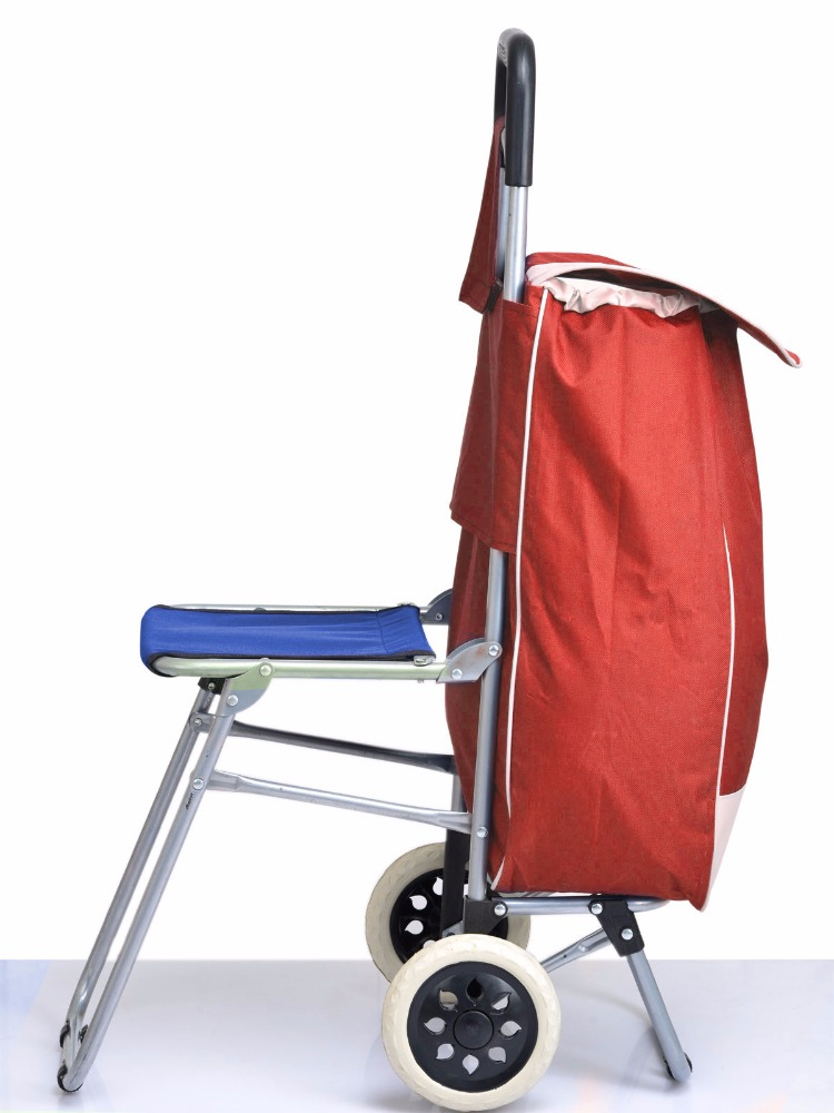 Kawachi Shopping Trolley Bag With Folding Chair - Red