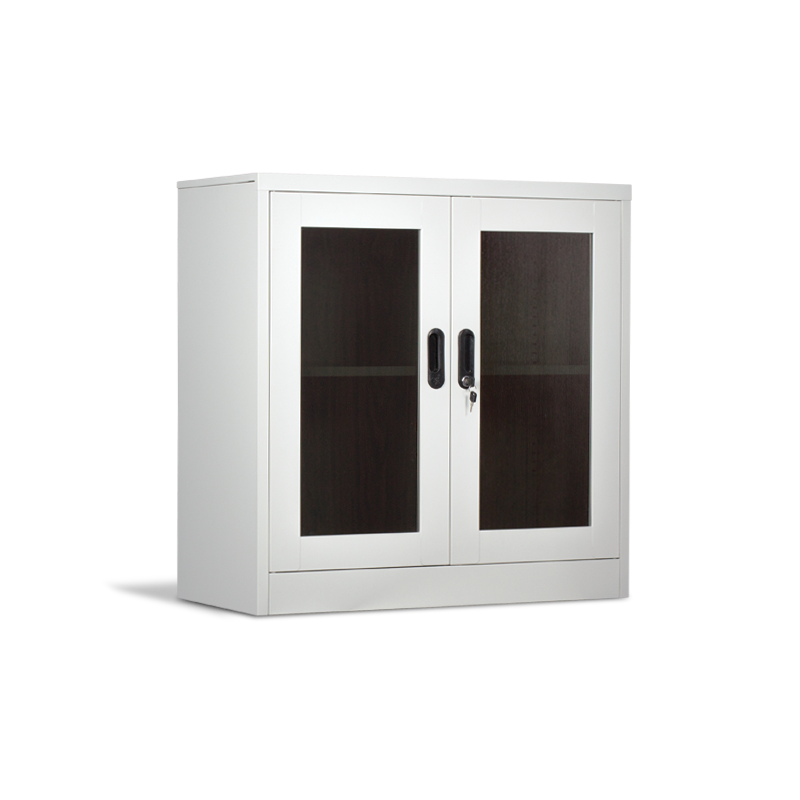 Steel kitchen office school hotel changing room cabinet with two glass doors and one shelf Carmen CR-1237 Grey color