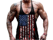American Flag printing stringer vest, tank top , Solid Gym Singlet black color