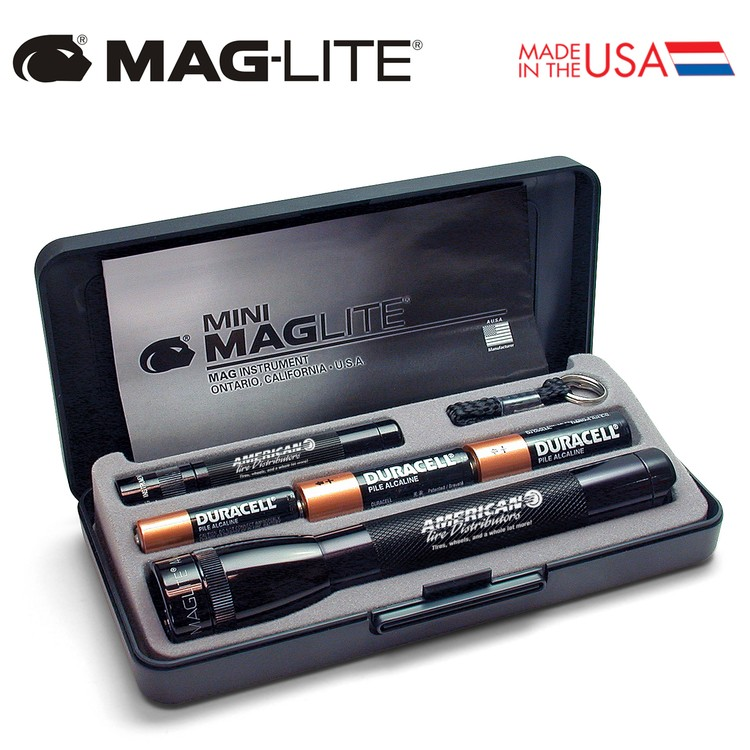 USA Made Mag-Lite Combo Pack Flashlight - features M2A and K3A flashlights in a gift box and comes with your logo