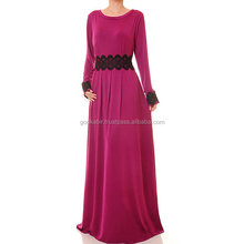 Simple ans stylist popular women choice Magenta Jersey Black Lace Long Sleeves Abaya Maxi Dress /Famous and fancy pink and black